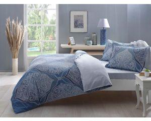 Постельное белье TAC SATEN 2-х сп. евро Yasmin (Ясмин голубое)