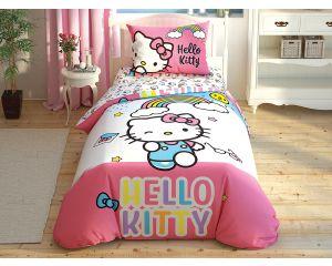 Постельное белье TAC RANFORCE детское на резинке 1.5-сп Hello Kitty Rainbow (Хелло Китти - Радуга)