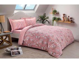 Постельное белье TAC SATEN семейное Lennie (Ленни розовое)