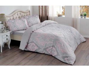 Постельное белье TAC SATEN 2-х сп. евро Vales (Валес серое с розовым)