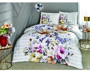 Постельное белье TAC SATEN 2-х сп. евро Candra (Чандра серое с цветами)