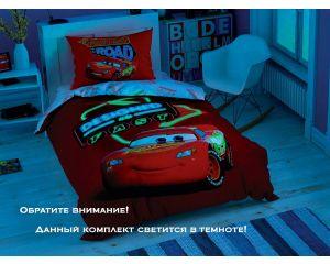 Постельное белье TAC RANFORCE детское на резинке 1.5-сп Disney Cars Shiny Road (Тачки Шайни Роуд)