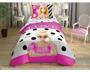 Постельное белье TAC RANFORCE детское на резинке 1.5-сп Barbie Glitter (Барби Глиттер)