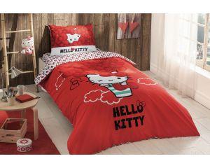 Постельное белье TAC RANFORCE детское на резинке 1.5-сп Hello Kitty Bow (Хелло Китти Боу)