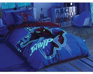 Постельное белье TAC RANFORCE детское на резинке 1.5-сп Spiderman Light City G (Спайдермен - Лайт Сити Дж)
