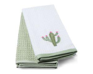 Набор кух.полотенец TAC 40x60 махровые, вышивка, 2шт., 350г/м2 Cactus (Кактус)